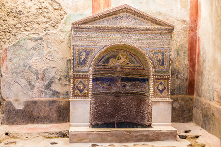 Mosaic Fountain - Pompeii, Province of Naples, Campania, Italy, Europe Reklamní fotografie