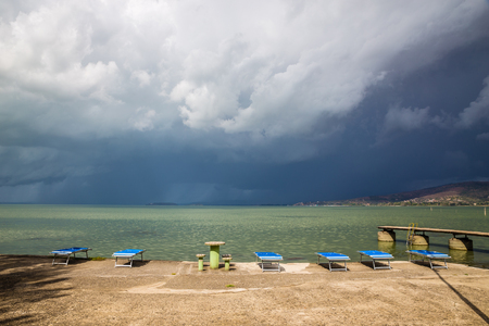 Lake Trasimeno Before Storm - Umbria, Italy, Europe Stockfoto