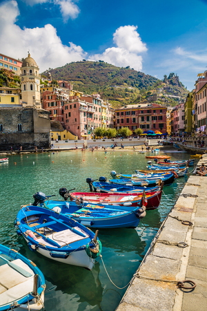 Vernazza Bay With Colorful Boats - Cinque Terre, La Spezia Province, Liguria Region, Italy, Europe