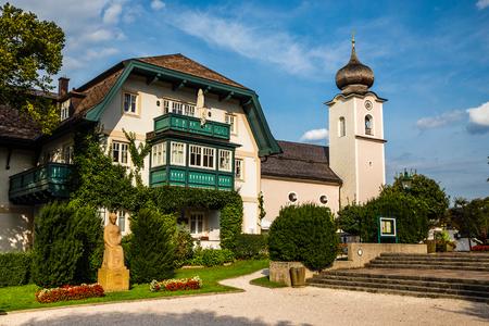 St. Sigismund Parish Church - Strobl am Wolfgangsee, Salzkammergut, Austria Stock Photo