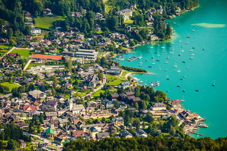 Aerial View Of Sankt Gilgen Wolfgangsee - Salzkammergut, Salzburg, Austria Stock Photo