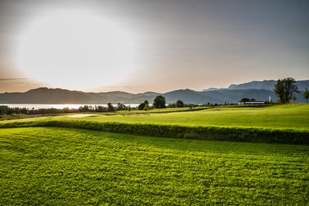 Attersee And Golf Club During Sunset - Salzkammergut, Salzburg, Austria Stock Photo