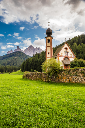 Church of St. John of Nepomuk In Ranui, Santa Maddalena, Val Di Funes, Tyrol, Italy Stock Photo