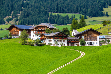 Buildings In Val Di Funes - Bolzano, South Tyrol, Italy, Europe