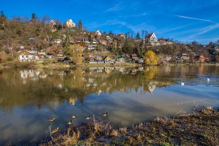 Cottage Settlement Next To The Berounka River - Cernosice, Prague, Czech Republic