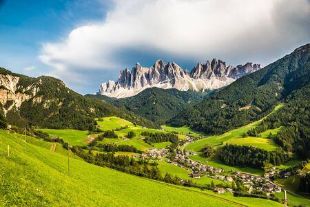 Santa Maddalena Village And Geisler (Odle) Dolomites Mountain Peaks  - Val Di Funes, South Tyrol, Italy