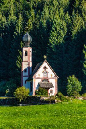 Church of St. John of Nepomuk In Ranui, Santa Maddalena, Val Di Funes, Tyrol, Italy Фото со стока