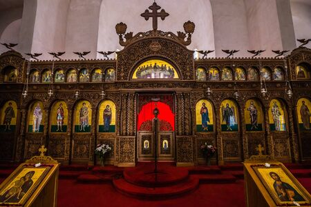 Interior Of Saint Demetrius Greek Orthodox Cathedral - Berat, Albania, Europe Stock Photo