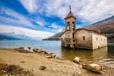 Flooded Old Saint Nicholas Church - Mavrovo, Mavrovo and Rostusa Municipality, North Macedonia, Europe