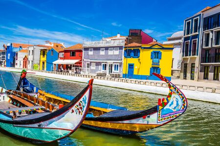 Colorful Art Nouveau Buildings And Boats In Aveiro, Centro Region of Portugal, Europe