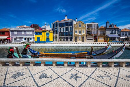 Art Nouveau Buildings And Boats In Aveiro, Centro Region of Portugal, Europe