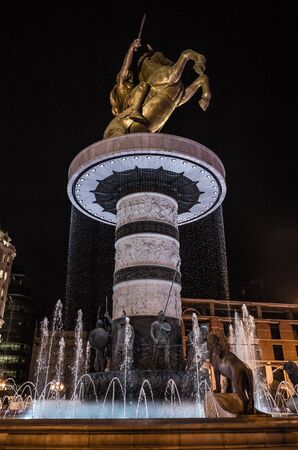 Warrior On A Horse Statue At Night - Skopje, North Macedonia, Europe Foto de archivo