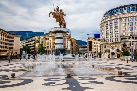 Warrior On A Horse Statue On Macedonia Square - Skopje, North Macedonia, Europe