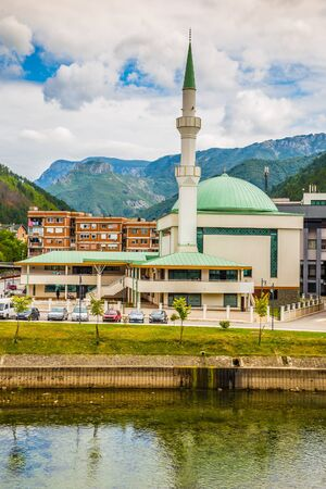 Konjic Central Mosque And Neretva River - Konjic, Bosnia and Herzegovina, Europe