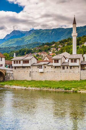 Traditional Architecture And Carsijska Mosque - Konjic, Bosnia and Herzegovina, Europe Stock Photo