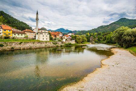 Carsijska Mosque (Dzamija) And Neretva River - Konjic, Bosnia and Herzegovina, Europe 版權商用圖片