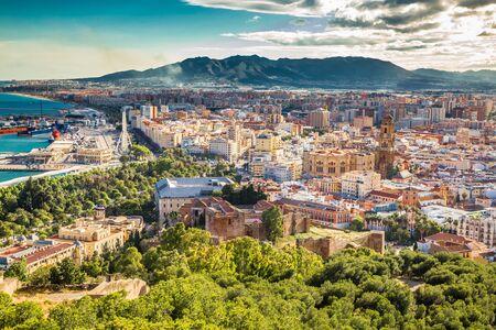Malaga From Gibralfaro Viewpoint - Andalusia, Costa del Sol, Spain, Europe 版權商用圖片