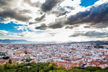 Malaga From Gibralfaro Viewpoint - Andalusia, Costa del Sol, Spain, Europe Stock Photo