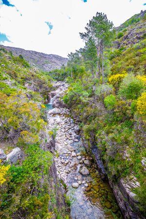 Portela Do Homem Waterfall - Peneda-Geres National Park, Portugal, Europe 版權商用圖片