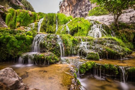 Waterfall Cascading Over Green Moss - Sierras de Cazorla, Spain
