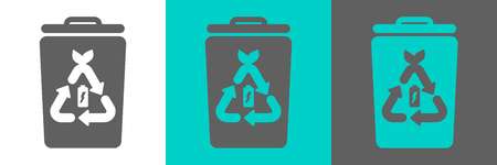 Trash bin vector element with battery outline icon. Eco style flat logo. Vettoriali