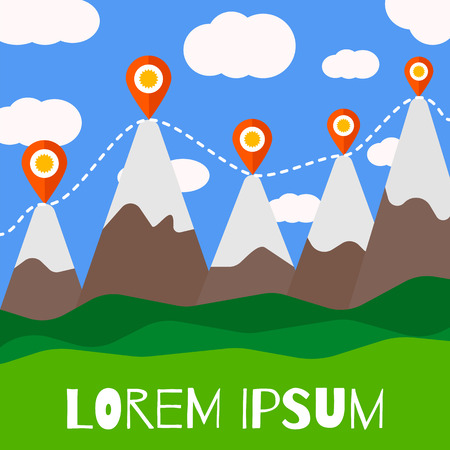 Mountain tourism illustration. Vector flat design template. Tourist route with map pins. Illustration