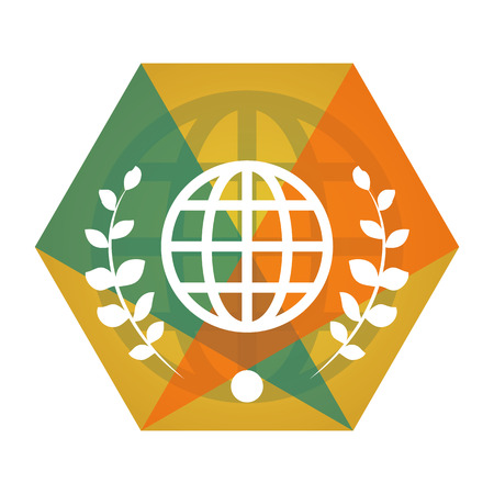 Geometric vector globe flat icon with eco-style leaves
