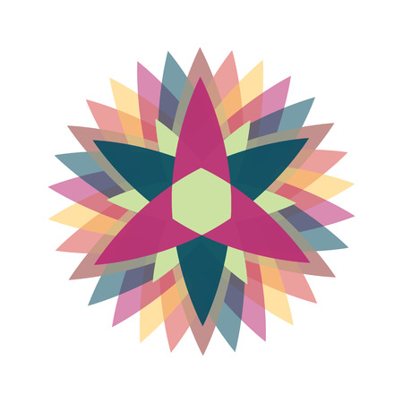 Abstract colorful vetor flower logo.Isolated six pointed stars.