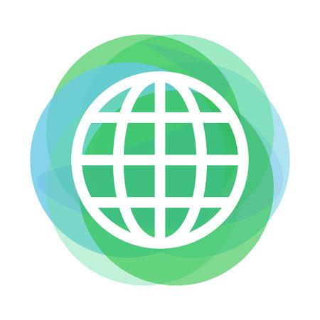 Outline globe icon above abstract blue and green circles Illusztráció