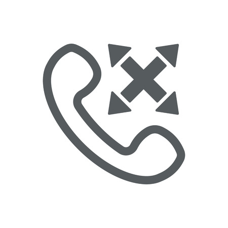 Vector outline handset flat illustration with cross sign and arrows. Multi-channel phone customer service icon. Ways to answer the phone. Illustration