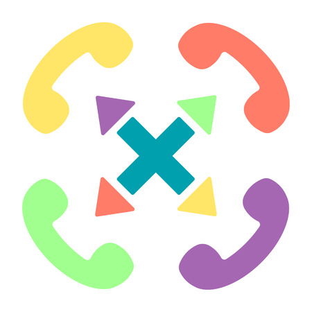 Vector colorful handset flat illustration with cross sign and arrows. Multi-channel phone customer service icon.