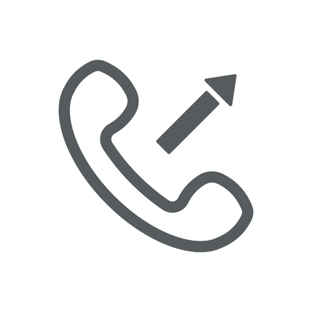 Vector outline handset flat illustration with outgoing arrow sign.