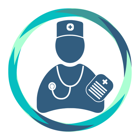 Flat Vector icon. doctor in medical cap silhouette with stethoscope and clipiboard in abstract circle. Human shape. Medical cross. Trendy illustration. Treatment plan.