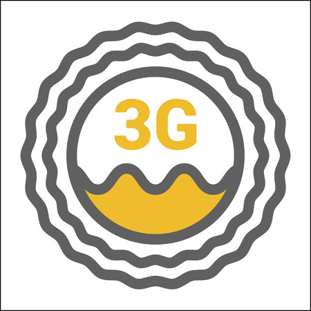 Unusual flat 3g   icon with geometric pattern. Rounded signal area, waves, sun.