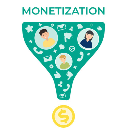 Monetization vector flat illustration .Business template. Modern background. Money making strategy. Illustration