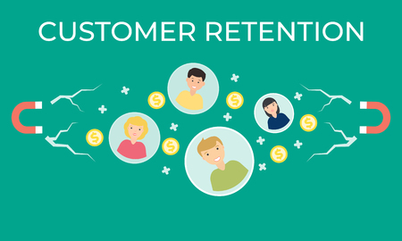customer retention strategy vector flat illustration. magnet engaging. Business template. Modern background. Vetores