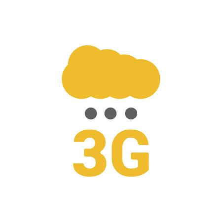 Flaches 3g-Logo mit Signalstärkepunkten und Wolke. Digitaler Regen. Basisstationen signalisieren Stärkepunkte