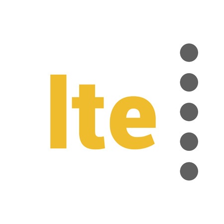 Flat LTE vector logo with geometric background. space and stars. Base stations signal strength dots