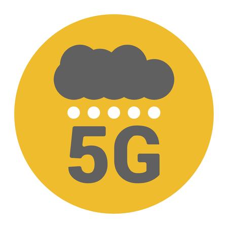 Flache 5g Abbildung mit Signalstärkepunkten und Wolke. Digitaler Regen. Basisstationen signalisieren Stärkepunkte