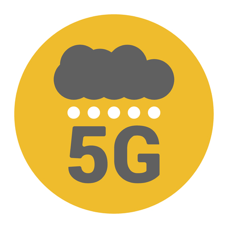 Flat 5g illustration with signal strength dots and cloud. Digital rain. Base stations signal strength dots