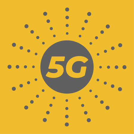 5g wireless mobile internet standart flat emblem with abstract geometric  background. space and stars. Base stations firework . Fifth generation modem