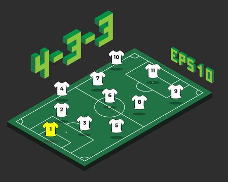 Formazione di calcio 4-3-3 con campo isometrico. Concetto di strategia popolare di calcio. Modello di tattiche di campionato di vettore.