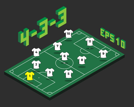 Football  4-3-3 formation with isometric field. Soccer popular  strategy concept. Vector championship tactics template.