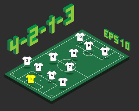 Football 4-2-1-3 formation with isometric field. Soccer popular strategy concept. Vector championship tactics template.