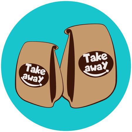 Einweg-Papiertüten mit Fast Food.Coffee House Banner. Getränke und Fast Food zum Mitnehmen. Café-Logo-Konzept zum Mitnehmen. Straßenessen zum Mitnehmen Logo