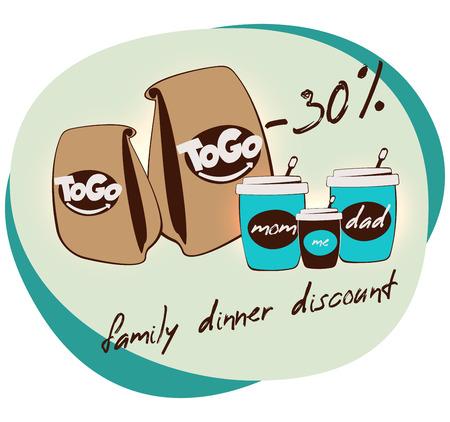 Bannière d'annonce de réduction de dîner de famille. Emportez la bannière du café. Maman, papa et moi. Tasse de thé ou de milkshake. boissons à emporter. logo de la cuisine de rue