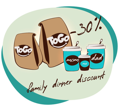 Family dinner discount AD banner. Take away coffee house banner. Mom, dad and me. Tea or milkshake cup. beverages to go. street food logo