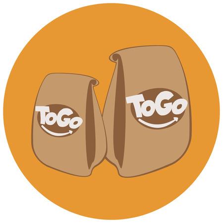 sacs en papier jetables avec bannière de fast food.coffee house. boissons et restauration rapide à emporter. Concept de logo de café à emporter. Sortir Logo