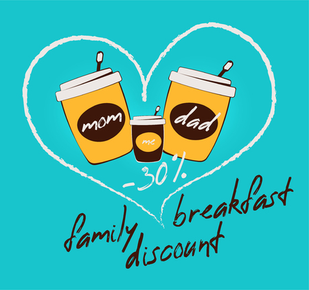 Three paper cup of coffee and a heart vector illustration. Family street breakfast discount banner. Take away coffee house banner. Stroke, outline, Tea or milkshake cup.  beverages and fast food to go