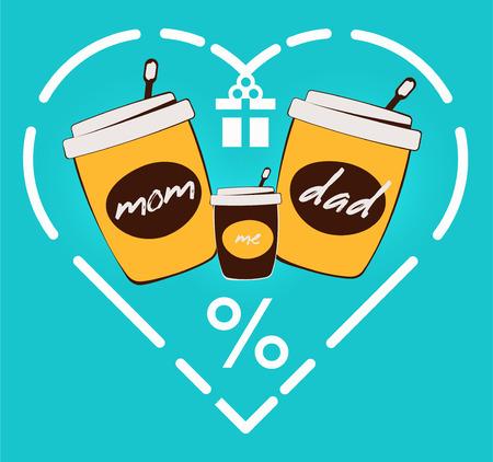 Trois tasse de café en papier et une illustration vectorielle de coeur. Bannière de réduction de petit-déjeuner de rue familiale. Emportez la bannière du café. Couper, contour, tasse de thé ou de milkshake. boissons et restauration rapide à emporter